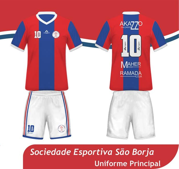 A camisa reserva é branca com uma faixa horizontal vermelha e outra azul na parte  central do uniforme. 8248211c70ca5