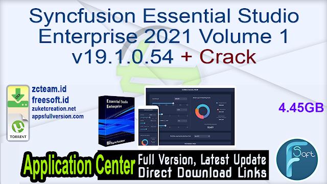 Syncfusion Essential Studio Enterprise 2021 Volume 1 v19.1.0.54 + Crack