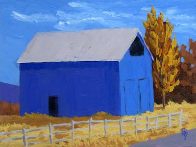 acrylic rural landscape painting art barn blue