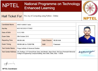 Nptel Exam pattern Admit card OverView