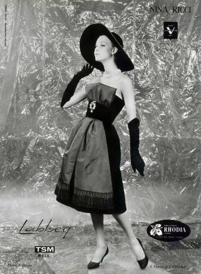 Ad for Nina Rici gown for L Art et la Mode Photo by Jacques Decaux