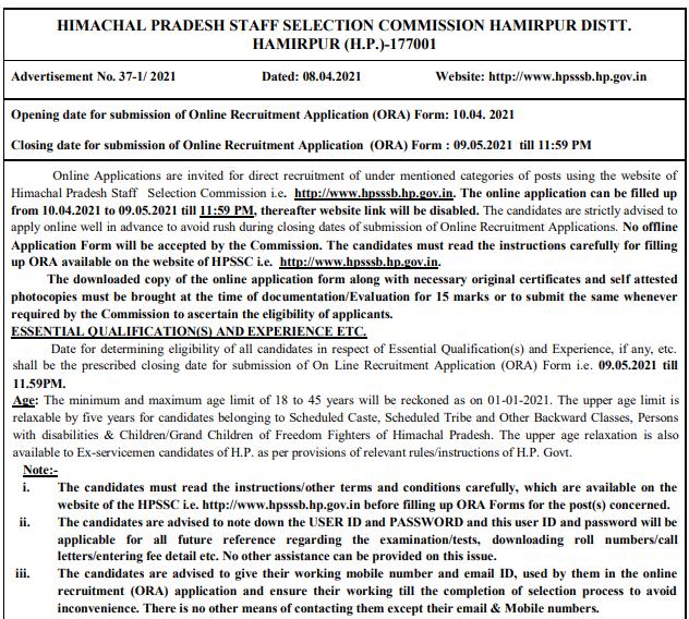 HPSSSB Pharmacist Recruitment 2021 Apply Online