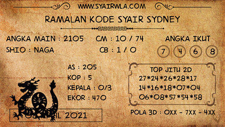 Kode Syair Sydney Kamis 08-Apr2021