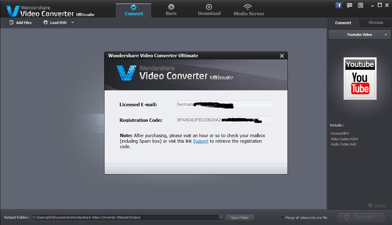 Wondershare Video converter Ultimate 6 5 1 License email and