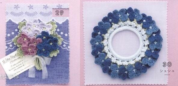 Броши и резинки крючком с цветами гортензии (5)