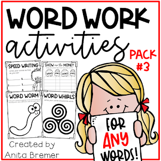 Word work activities for ANY words! Word work is an essential part of language learning in the primary grades. Make word work FUN while LEARNING takes place! There are seventeen different word work activities included in this pack. They can be used for absolutely ANY word learning! Perfect for literacy centers or sub plans. A must have for Kindergarten- Third Grade! #wordwork #wordworkactivities #spelling #1stgrade #2ndgrade #kindergarten