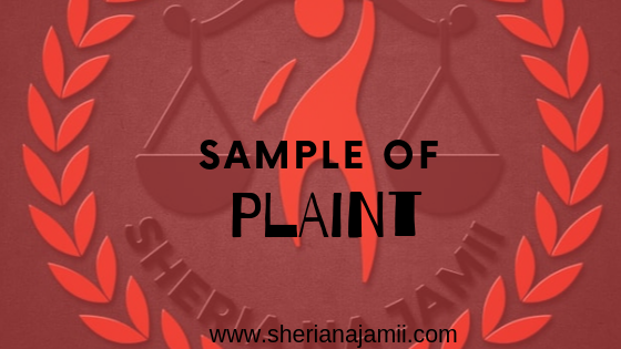 Sample of Plaint