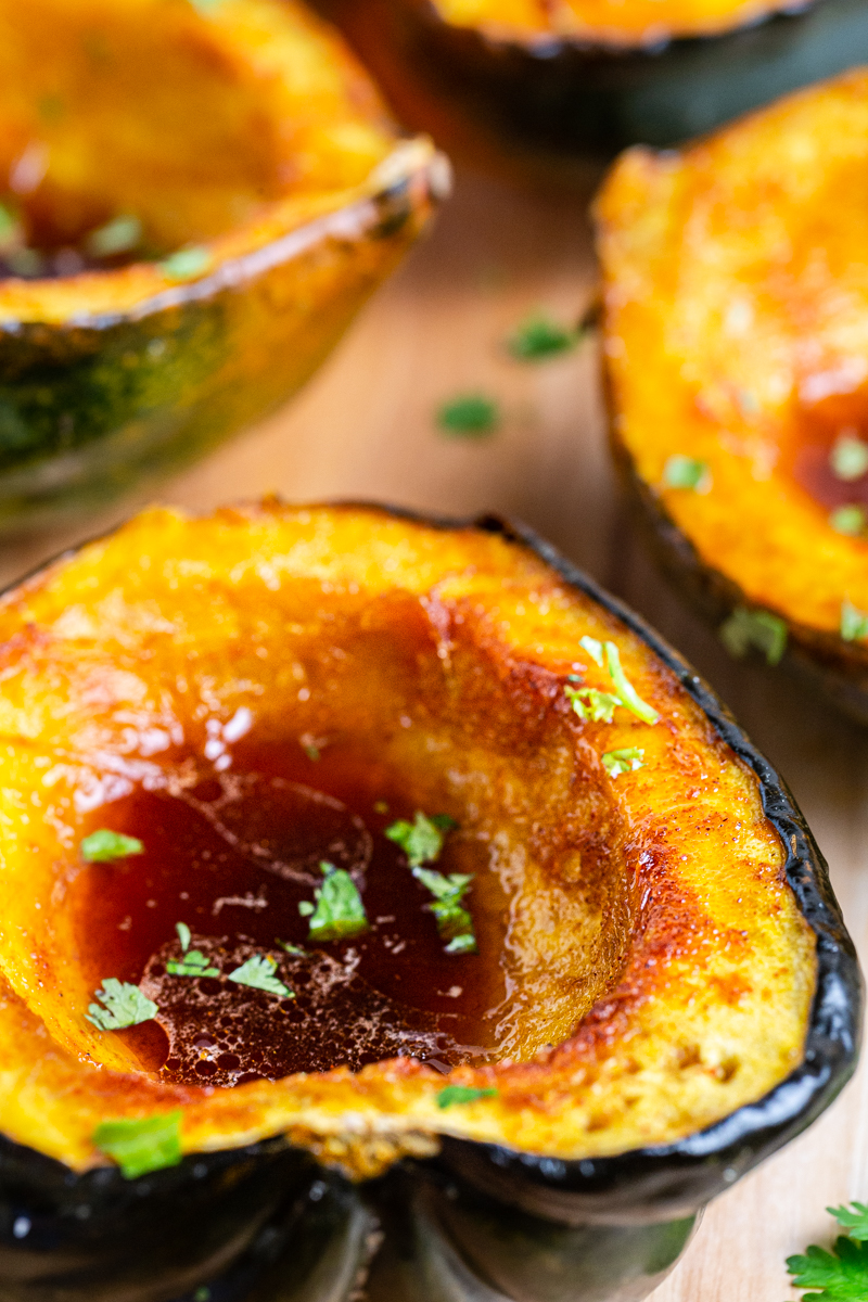 Close up photo of Low Carb Brown Sugar Chile Roasted Acorn Squash.