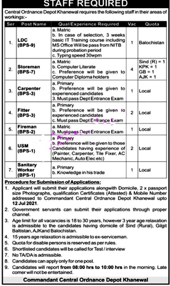 Latest Jobs in Pakistan Army Central Ordnance Depot COD 2021