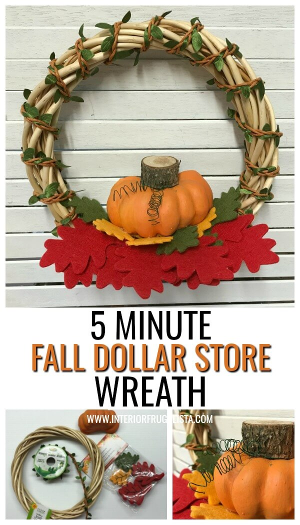 Turn inexpensive dollar store finds into an adorable small DIY Fall Pumpkin Wreath and it's so quick and easy to make in five minutes or less. #dollarstorecraft #diyfalldecor