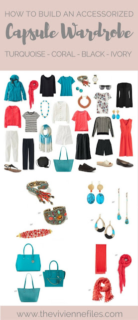 how to accessorize a capsule wardrobe in a Turquoise, Coral, Black and Ivory color palette