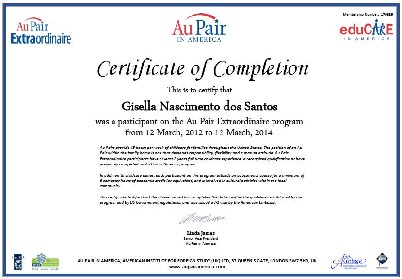 certificado de aupair