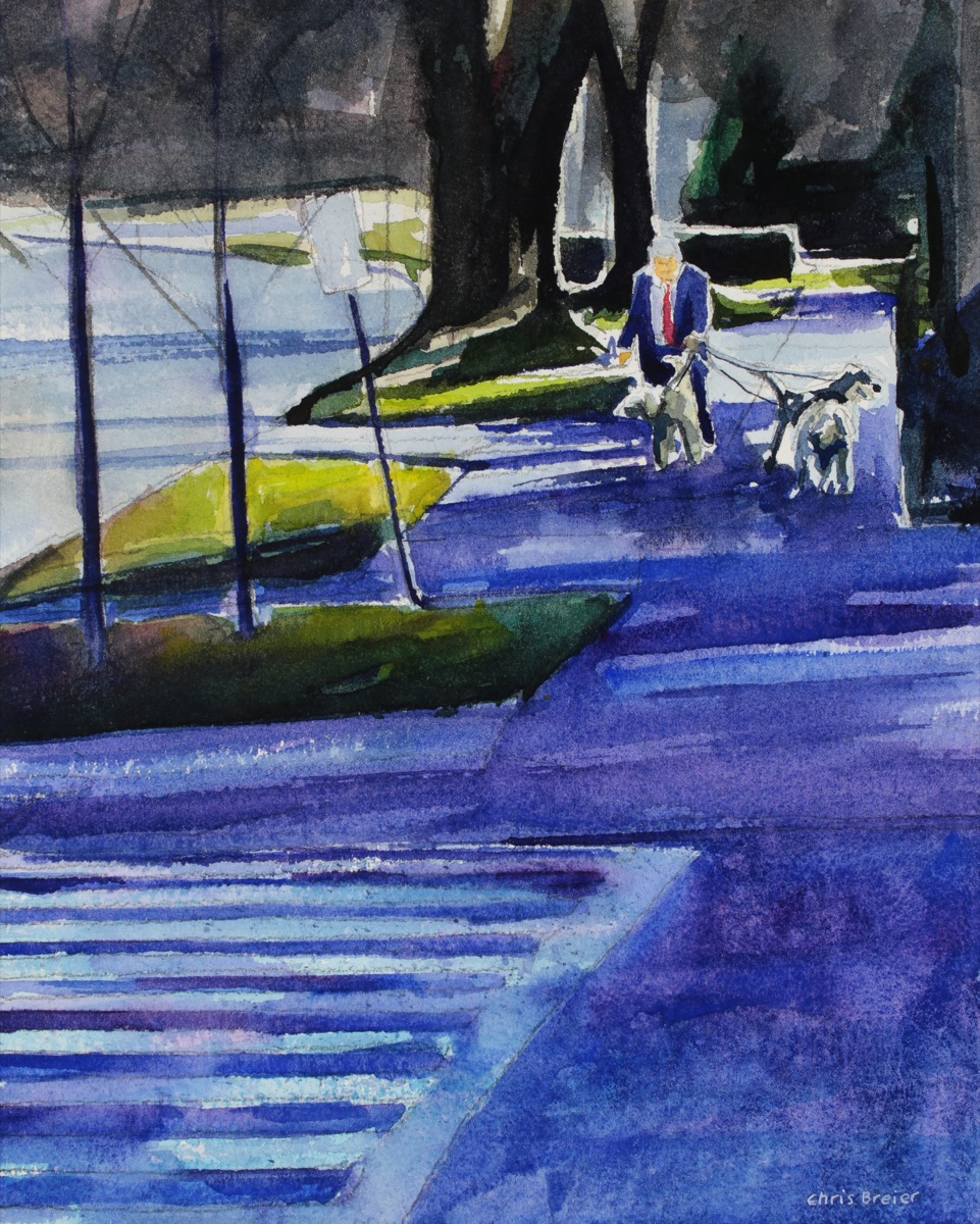 a watercolor painting of a man walking 3 dogs