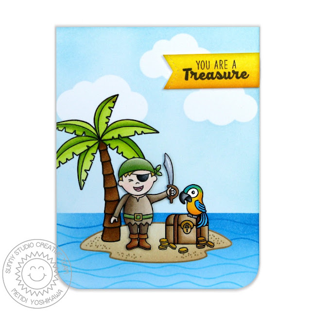 Sunny Studio Stamps Pirate Pals You Are A Treasure Card by Mendi Yoshikawa