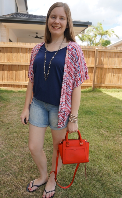 navy slouchy tee denim shorts red printed kimono and micro avery bag summer mum style | awayfromblue
