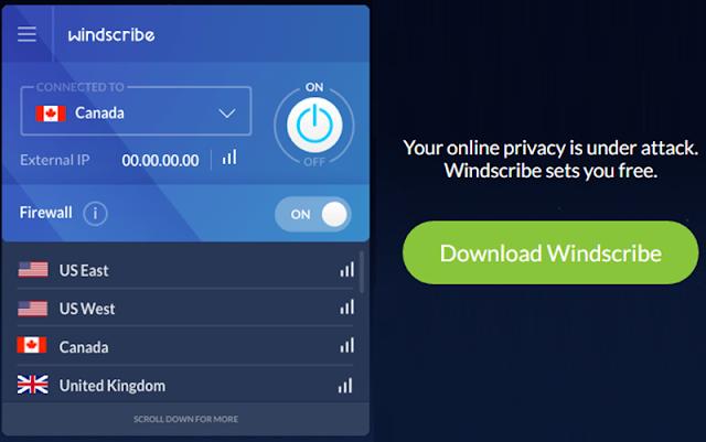 Windscribe  Melhor VPN grátis