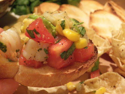 Corn and Shrimp Salsa on a piece of toast