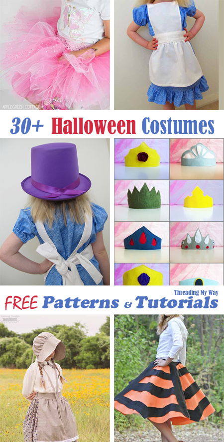 30 Free DIY Halloween Costumes - tutorials, patterns, templates, inspiration ~ Threading My Way