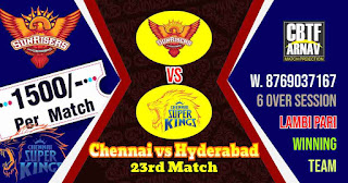 23rd Match CSK vs SRH IPL 2021 Today Match Prediction 100% Sure Winner