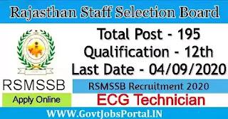 RSMSSB ECG Technician Recruitment 2020