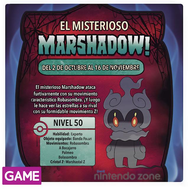 Marshadow está siendo repartido en GAME, ¡hasta el 16 de noviembre!