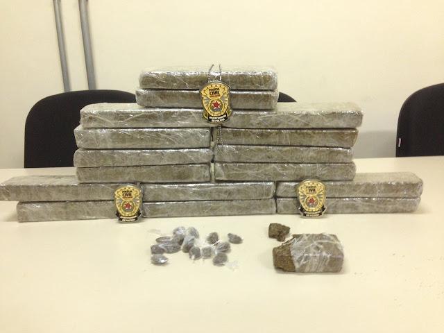 Polícia Civil apreendeu 17kg de maconha durante Operação em Lambari, MG - Foto Polícia Civil