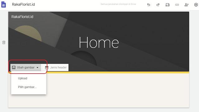 Merubah Gambar Sampul Google Sites