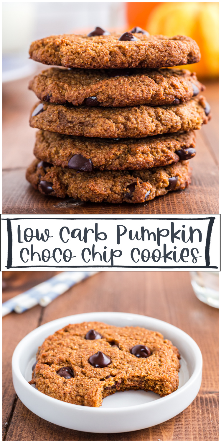 Low Carb Pumpkin Chocolate Chip Cookies - These pumpkin chocolate chip cookies are full of yummy fall spice and the perfect way to indulge in a gluten-free, low carb, keto pumpkin treat! #keto #lowcarb #glutenfree #grainfree #pumpkin #chocolate #chip #cookies #recipe
