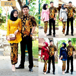 BAJU BATIK COUPLE MODEL SETELAN ROK BALOTELLY MIX BLUS BROKAT FULL FURING T2714