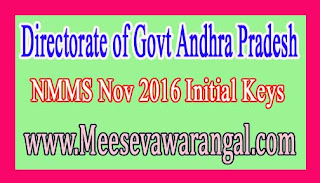 Directorate of Govt Andhra Pradesh NMMS Nov 2016 Initial Keys