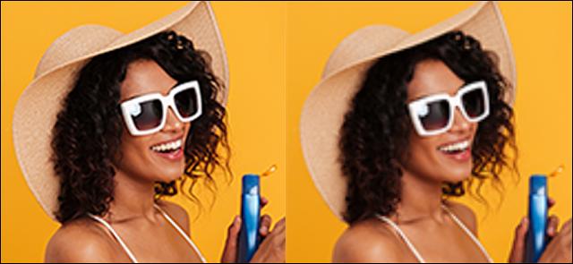 على اليسار: صورة حادة ، لكنها خشنة لامرأة أمام خلفية صفراء تم تحريرها باستخدام الاستيفاء الثنائي.  على اليمين: نفس