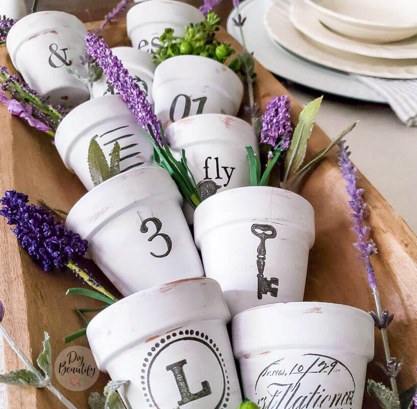 French inspired seedling pots with lavender