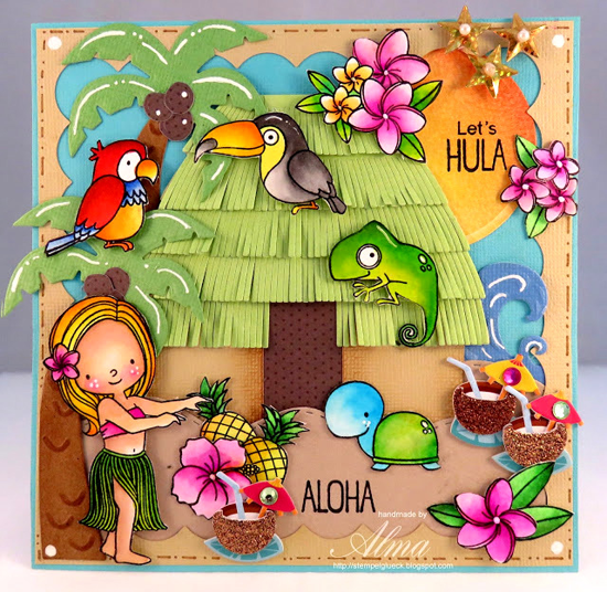 Birdie Brown Polynesian Paradise stamp set  - Alma #mftstamps