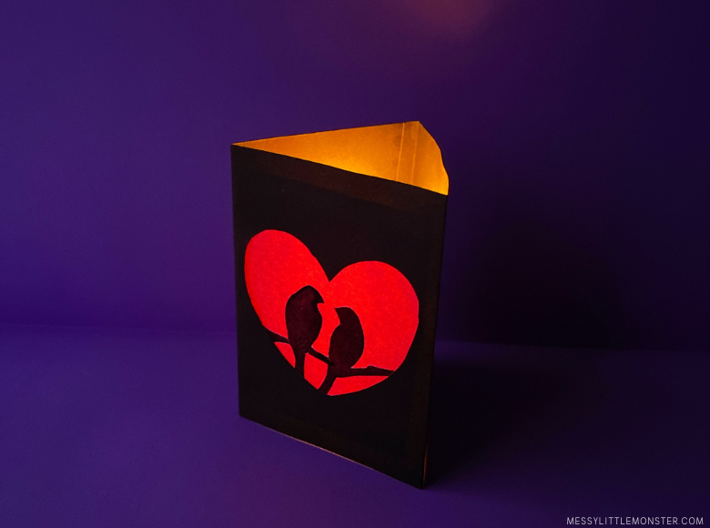 Paper luminary for valentines day