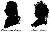 Silueta de Francesco Benucci (ca1745-1824) y Anna Storace (1765-1817) por Hieronymous Loeschenkohl (1753-1807), en la  Oesterreichischer National Taschenkalender, Viena 1786-1787.