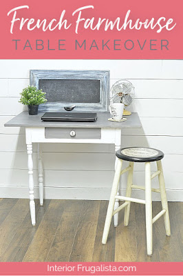 White and Grey French Farmhouse Table Makeover