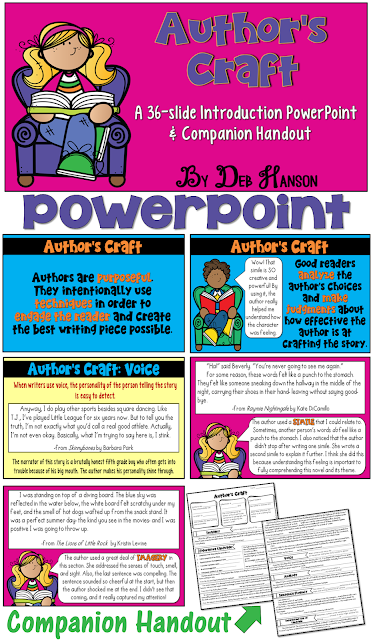 Introduce author's craft techniques to your students by using this PowerPoint. It focuses on voice, imagery, figurative language, sentence fluency, analogies, and interesting use of language!