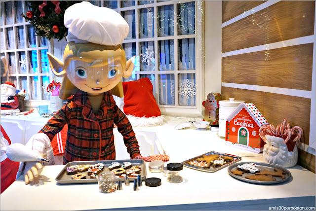 Elfos Cocinando en los Escaparates de Navidad del Macy's de Boston