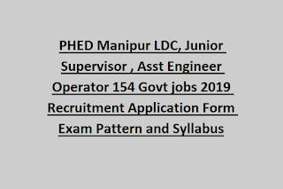 PHED Manipur LDC, Junior Supervisor, Asst Engineer Operator 154 Govt jobs 2019 Recruitment Application Form Exam Pattern and Syllabus