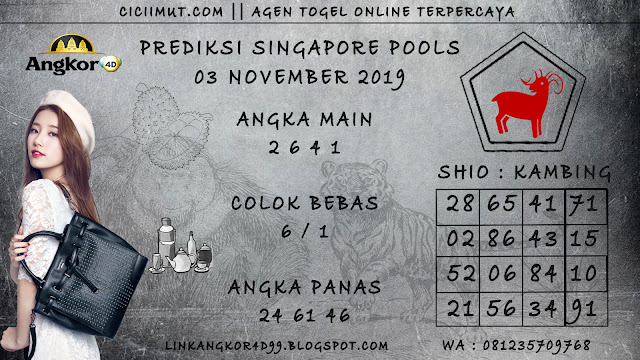 PREDIKSI SINGAPORE POOLS 03 NOVEMBER 2019