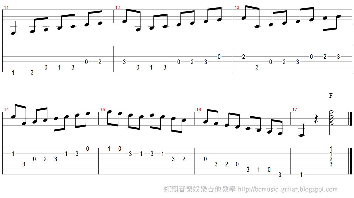 【虹韻音樂娛樂】- 吉他 & 烏克麗麗 : F大調音階與單音練習
