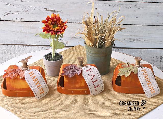 Craft Shop Wood Chip Baskets Repurposed As Fall Pumpkins