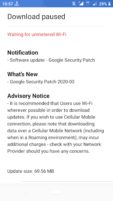 Nokia 1 receiving March 2020 Android Security Patch