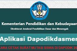 [Cara] Cetak SURAT PINDAH/MUTASI Siswa di Dapodik 2019