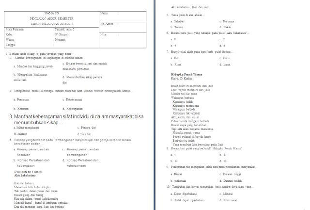 Soal PAS Kelas 4 SD/MI: Tema 6