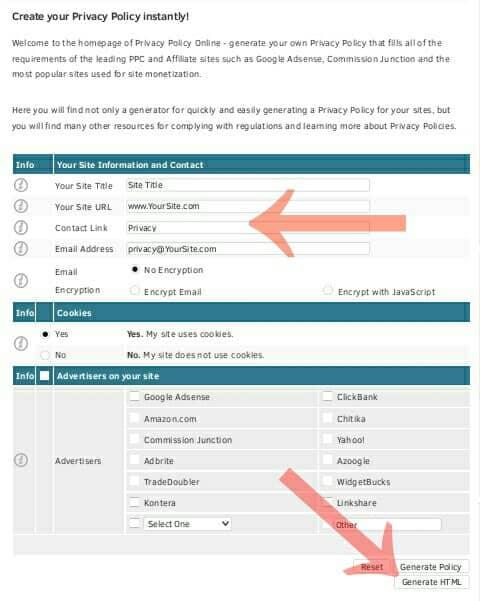 membuat privacy policy memakai web generator