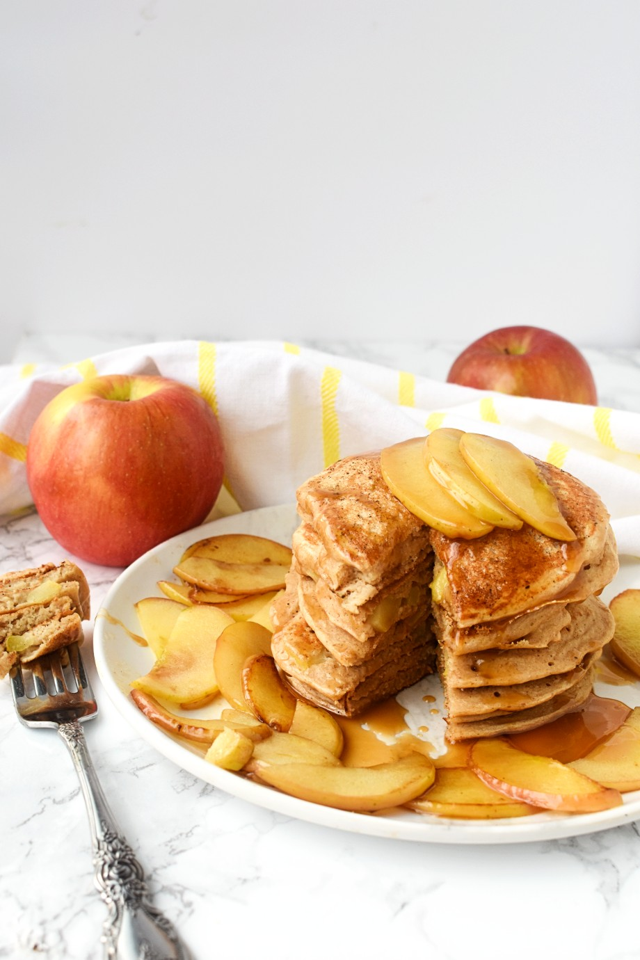 Whole-Wheat Caramel Apple Pancakes