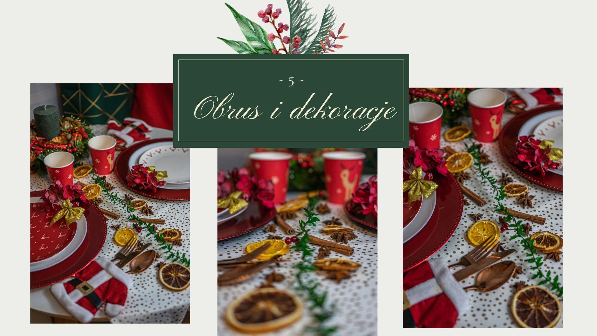 jak udekorować stół mieszkanie na swieta na boze narodzenie i wiglię pomysły na dekoracje świąteczne świąteczne talerze kubki obrus wieniec swiateczny na stół stroik dodatki świąteczne