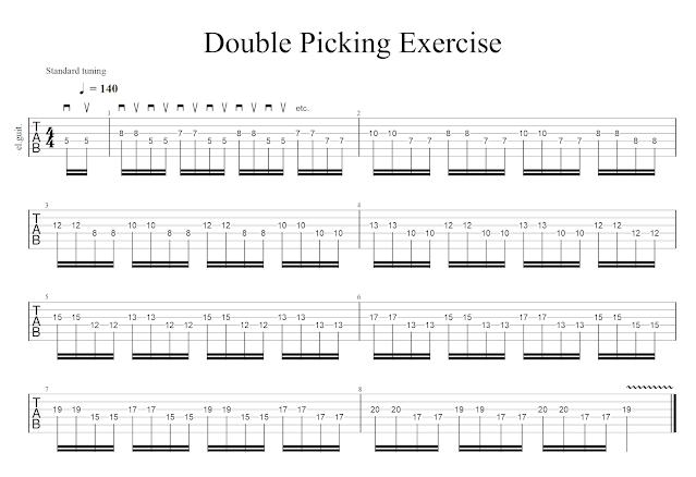 Sebastian Bluschke Double Picking Wechselschlag Übung Gitarre