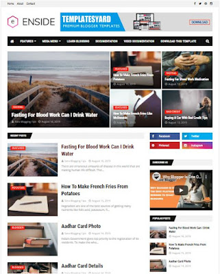Enside Adsense Responsive Blogger Templates Without Footer Credit